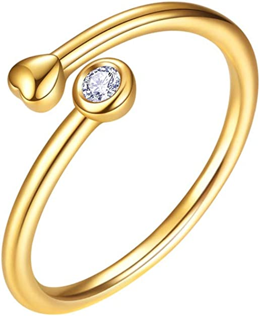 Dainty Tiny Jewelry Kits for Boys Teens Child Set 18K Gold Plated Handmade Personalized Feminine Adorable Necklace Agkoy Heart Love Initial 14K Gold Adjustable Stacking Rings for Women Girls