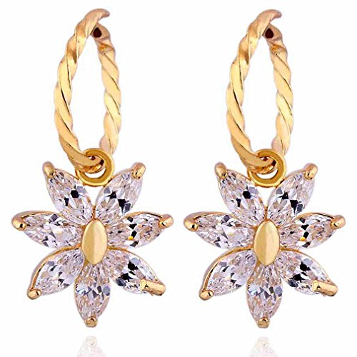 Yazilind Charming Smooth 18k Gold Plated Flower Inlay Marquise Shape Cubic Zirconia Dangle Drop Earrings