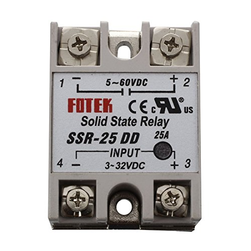 TOOGOO(R) SSR-25DD Single Phase Solid State Module Relay 25A DC 5-60V