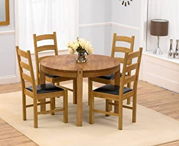 Windsor Oak Furniture Round Dining Table 4 Valencia Chairs Amazon