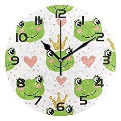 Dozili Cute Frog Decorative Wooden Round Wall Clock Arabic Numerals Design Non Ticking Wall Clock Large for Bedrooms, Living Room, Bathroom