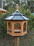 Large Octagon Gazebo Vinyl Bird Feeder Amish Homemade Handmade Handcrafted Cedar & Black