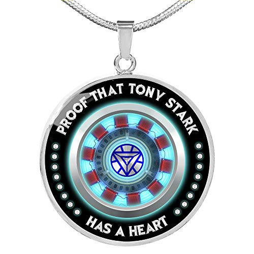 Fa Gifts Iron Man Arc Reactor, Iron Man Necklace, Iron Man, Proof That Tony Stark Has A Heart Circle Necklace for Men & Women - Luxury Rings Silver - Includes Gift Box! (Iron Man Magnetic Floating Toy For Sale)