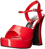 Ellie Shoes Women's 557-lea Heeled Sandal, Red, 9 M US