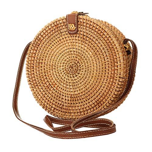 Rattan Vintage (KNUS Vintage Purse Straw Crossbody Bag Handmade Sling Interlocking Clasp Shoulder Bag)