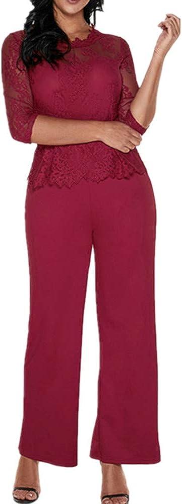 Lover-Beauty Mono Largo Casual Manga Larga Otoño Encaje Hueco Flounce Pantalones Piernas Anchas Suit Traje Dama para Boda Verano para Navidad