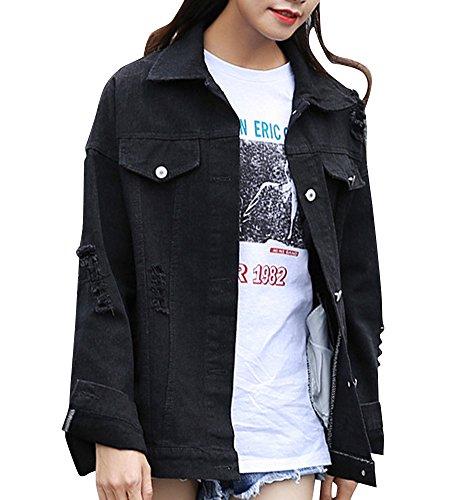 Jeans Manches pour Comme Noir longues Femme Veste Image en w1a5I5