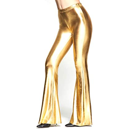 41c92451a6de Womens Faux Leather PU Sparkly Stretchy Sexy Flare Pants, Full Length High  Waist Slim Fit