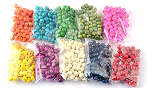 DIY Wood Beads 8mm 1000 Pcs with 10 Different Colors