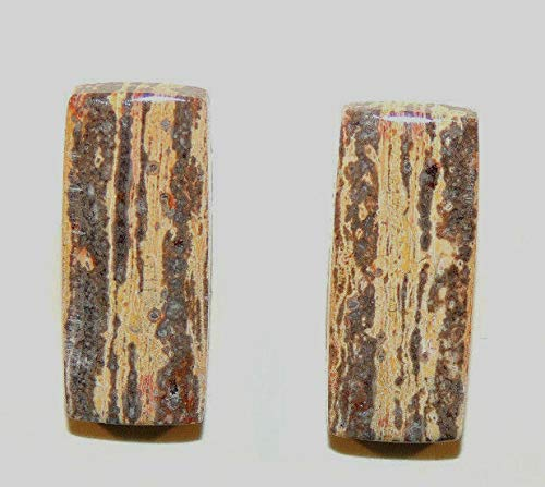 Strata Jasper Set of 2 Cabochons 22x10mm from Mexico with 5mm Dome - Strata Jasper