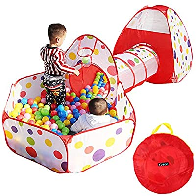 Portable Kids Indoor Outdoor Play Tent Crawl Tunnel Set 3 in 1 Ball Pit Tent US: Toys & Games