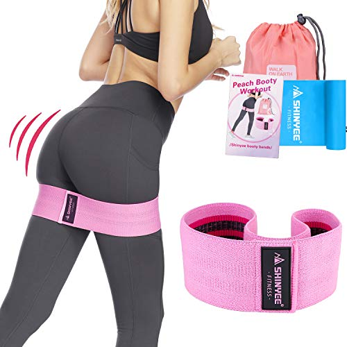 Shinyee Booty Hip Bands High Resistance Bands for Legs and Butt Workout Loop Exercise Band Women,Gym Fitness Circle Non Slip No Roll Fabric Heavy Duty Bootie Training Glute Band Hip (Purple-M-14.9in)