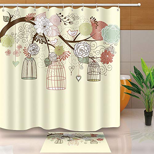 NEWTOO Vintage Decoration Shower Curtain, Floral Bird Cage with Beige Background, Waterproof Fabric Set with Hooks, 72 X 72 Inches, LYNT083 (Vintage Bird Cage Shower Curtain)