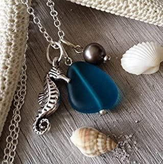 product image for Handmade sea glass jewelry from Hawaii,teal blue sea glass necklace, Freshwater purple pearl, seahorse charm, (Hawaii Gift Wrapped, Customizable Gift Message)