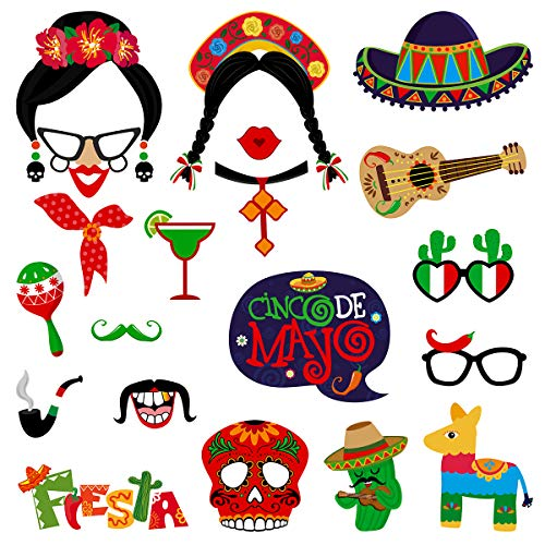 Amosfun 20pcs Mexican Photo Booth Props Funny Fiesta Party Photo Booth Props Mexican Carnival Theme Party Supplies for Birthday Wedding Bachelorette Fiesta Hawaii Party Decorations ()