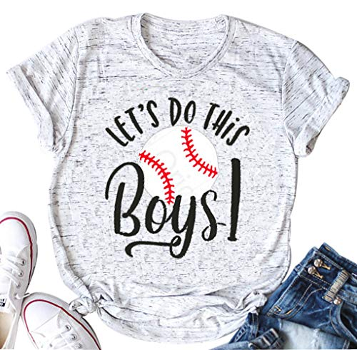 LONBANSTR Let's Do This Boys Letter Print Shirt Women's Casual Baseball Mom T-Shirt Tops (White,Small)]()