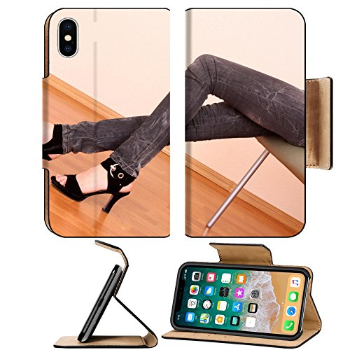 Luxlady Premium Apple iPhone X Flip Pu Leather Wallet Case IMAGE ID 7293796 Young woman trying on new shoes in a - Stores Botany