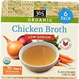 365 Everyday Value, Organic Low Sodium Chicken Broth, 32 oz (Pack of 6)
