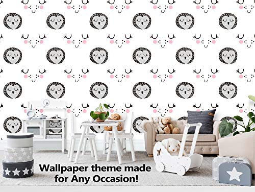 Cute owl Smiling Wallpaper Mural | Perfect Interior Design | Durable and High-Quality | Peel and Stick Wallpaper | Non-Toxic and Safe | Easy to Install | Easy to Clean | (R261) ()