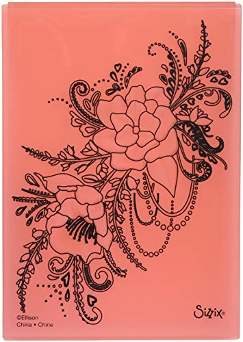 Sizzix Flower Heart Doodle by Courtney Chilson 3-D Textured Impressions Embossing Folder, Multicolor