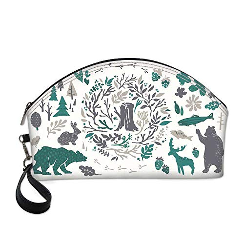 Cabin Decor Beautiful Women's semi circular cosmetic bag,Hand Sketched Elements of Northern Forest Berries Trees Fish Rabbit Bird Decorative For traveling,10.8