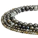 RUBYCA Natural Labradorite Gemstone Round Loose Beads Gray Brown for Jewelry Making 1 Strand - 8mm