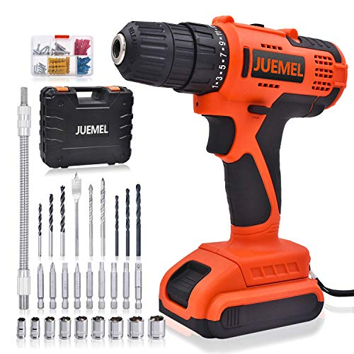 Cordless Drill Driver, JUMEL 20V Electric Power Drill Set with 25+1 Clutch, 320 in-lbs, Variable Speed, 100Pcs Accessories, 3/8 inches Keyless Chuck, 2000mAh Battery and Fast Charger