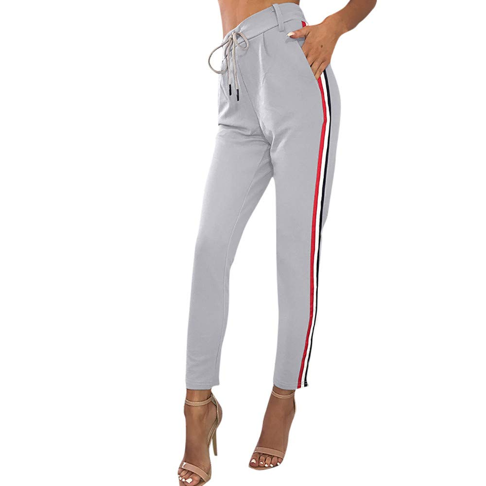 YANG-YI Clearance,Womens Casual Striped Pants Elastic High Waist Cropped Length OL Trousers