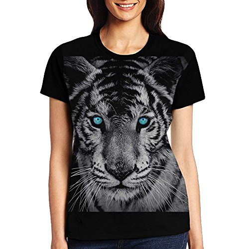 Blue Eyeglasses and White Tiger Women's Short Sleeve T-Shirt ()