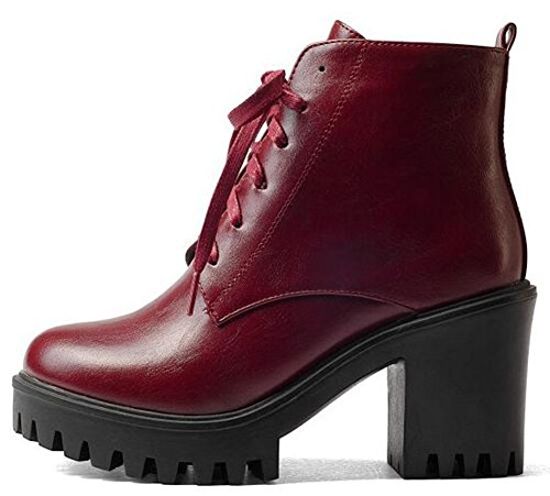 IDIFU Womens Vintage Lace Up Side Zipper Ankle Boots High Chunky Heels Platform Martin Booties Wine Red ITXjAv3