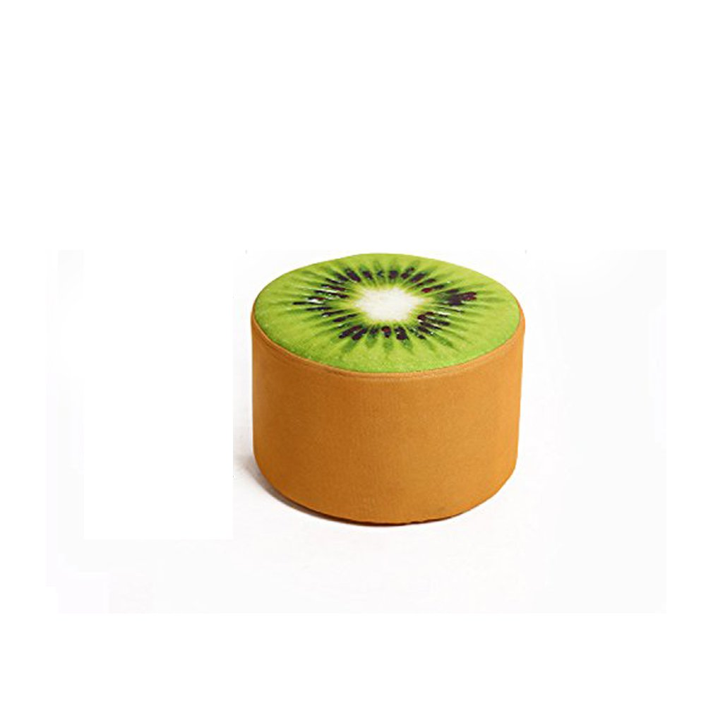 Corldif Round Ottoman Foot Stool/Linen Fabric Cover, Short Leg,Children Size(Kiwifruit)