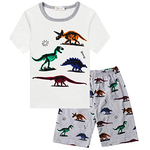 Little Hand Boys Pajamas Dinosaur Sleepwear PJS Kids Short Set 100% Cotton Toddler Clothes 2 Piece, T-Rex Dinosaur,3T