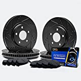 Front + Rear [ELITE SERIES] Black Anti-Rust Slotted & Drilled Rotors and Carbon Pads Brake Kit TA058883 | Fits: 2002 02 2003 03 Ford Explorer 4Dr Models Models