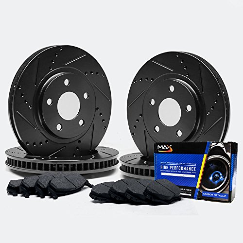 Max TA089583 [ELITE SERIES] Front + Rear Performance Slotted & Cross Drilled Rotors and Carbon Metallic Pads Combo Brake Kit
