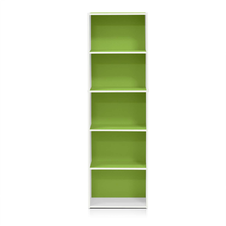 Furinno 5 Tier Reversible Color Open Shelf Bookcase White Green