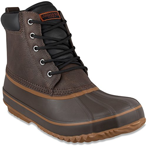 London Fog Mens Ashford Waterproof and Insulated Duck Boot Dark Brown 8 M (Dark Brown Waterproof Insulated Boot)