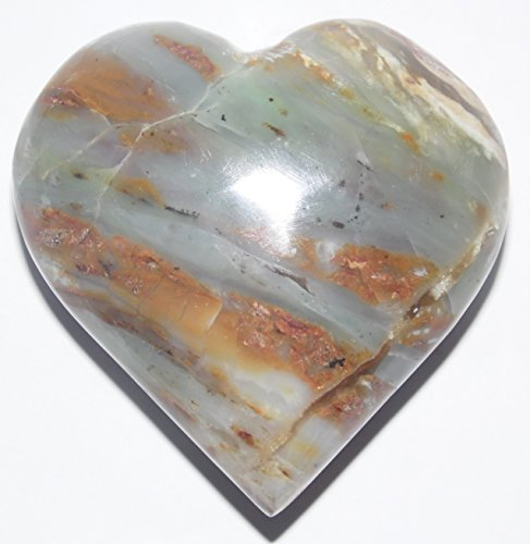 Authentic Peruvian Andean Opal Mineral Carved as a Heart - 3.7 ounces - 2.24 x 2.17 x 0.98 inches