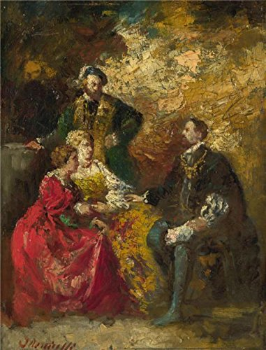 The Perfect Effect Canvas Of Oil Painting 'Adolphe Monticelli - Conversation Piece,probably 1870-90' ,size: 12x16 Inch / 30x40 Cm ,this High Resolution Art Decorative Prints On Canvas Is Fit For Foyer Decoration And Home Decoration And Gifts