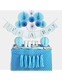 Baby Shower Decorations for Boy, It's A Boy, Banner, Tissue Paper, Fans, Honeycomb Paper Balls, Tassels, Blue, 13pcs., Gold Foil, Hanging, Party Supplies, Indoor/Outdoor BOBEBE Online Baby Store From New York to Miami and Los Angeles