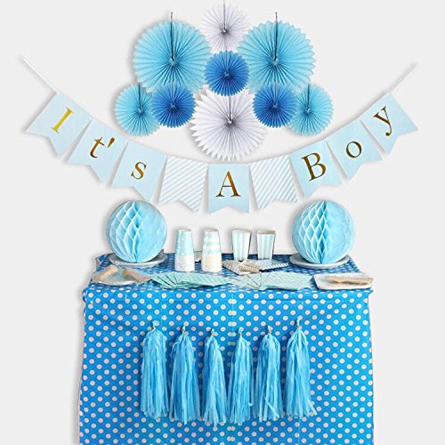 Baby Shower Decorations for Boy kit, It's A Boy, Banner, Tissue Paper, Fans, Honeycomb Paper Balls, Tassels, Blue, Gold Foil, Hanging, Party Supplies, Indoor/Outdoor