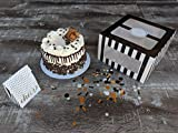 Confection Protection Cardboard Cake Boxes: 10 x 10 x 6 Inch Tall Cake Box Set with Cake Boards - Bakery Carrier Container with Window Panels for Wedding, Bake Sales - 10 Pack, Black Glossy Stripes