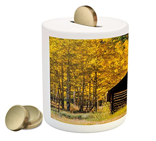 (Ambesonne Autumn Piggy Bank, Abandoned Wooden Farmhouse in Fall with Aspen Trees Rural Pastoral Nature Scene, Printed Ceramic Coin Bank Money Box for Cash Saving, Brown Yellow)