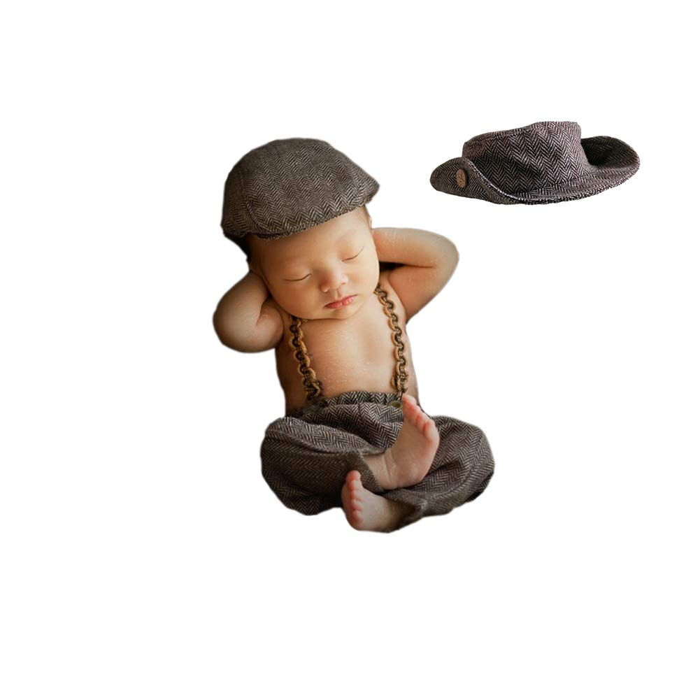 3pcs Monthly Baby Photography Outfits Newborn Boy Photo Posing Props Crochet Gentleman Rompers Cap Suit by Newborn Costumes Set
