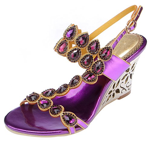 Sandals Honeystore Water Women's Wedge Purple Patterned with Straps Rhinestones 0q0wrv6A