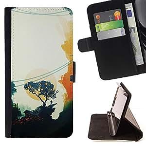 Momo Phone Case / Flip Funda de Cuero Case Cover - Pintura Oriental Sunset Trees minimalista - HTC One Mini 2 M8 MINI