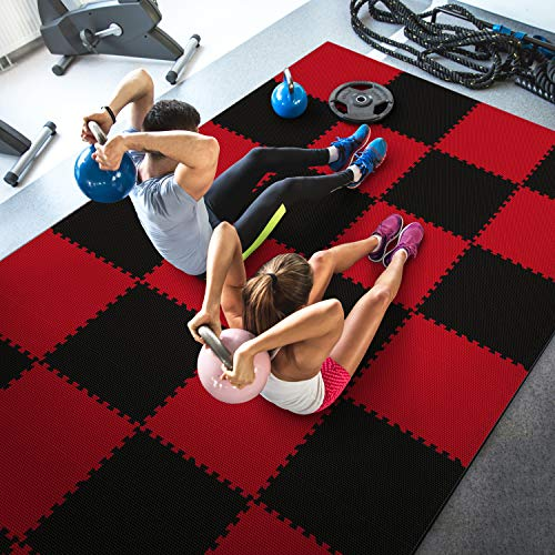 WF Athletic Supply High Density Reversible Premium Interlocking Foam Tiles - Perfect for Martial Arts, MMA, Home Gyms, P90x, Gymnastics, Cardio, and Exercise (1/2