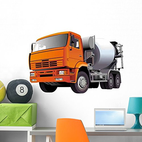 Wallmonkeys WM69489 Concrete Mixer Wall Decal Peel and Stick Graphic (36 in W x 24 in H) (Plants Concrete Batch)