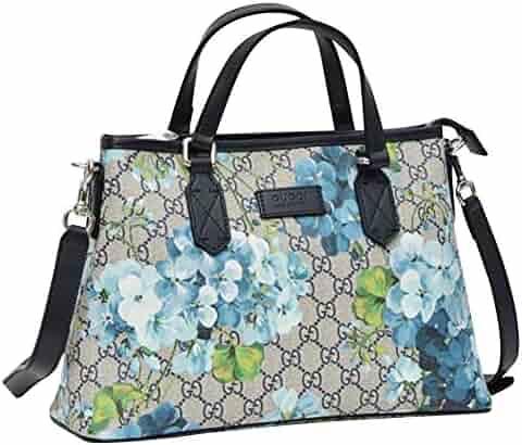 4b99963b487 Gucci Bloom Beige Blue GG Coated Canvas Zip Top Handle Tote Bag 429019 8499