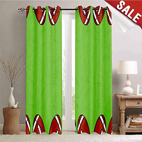 Hengshu Thermal Insulating Blackout Curtain Cartoon Framework with Balls and Faded Silhouettes Game Match Blackout Draperies for Bedroom W84 x L84 Inch Pistachio Green Redwood White (Best Java Game Framework)