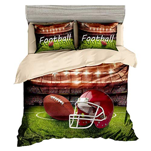 Beddingwish Rugby USA Football Course Pattern Bedding Set,3D Microfiber Sports Bed Set Men Teens Boys,(1 Duvet Cover + 2 Pillowshams, No Comforter,3Pcs) -Full/Queen Size